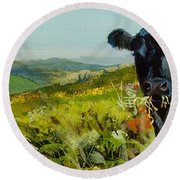 Black Cow Dartmoor Round Beach Towel