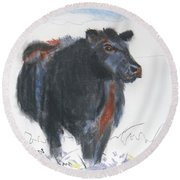Black Cow Drawing Round Beach Towel