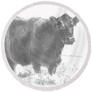 Black Cow Pencil Sketch Round Beach Towel