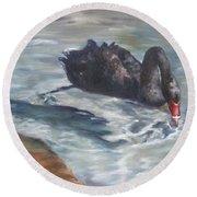Round Beach Towel featuring the painting Black Elegance by Lori Brackett