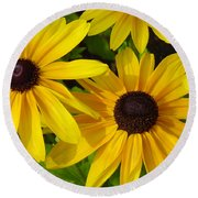 Round Beach Towel featuring the photograph Black Eyed Susans by Suzanne Gaff