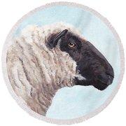 Black Face Sheep Round Beach Towel