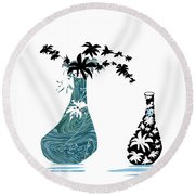Black Flowers Round Beach Towel