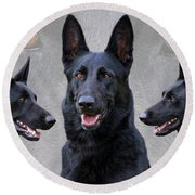 Black German Shepherd Dog Collage Round Beach Towel by Sandy Keeton