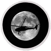 Black Hawk Moon Round Beach Towel