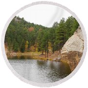 Round Beach Towel featuring the photograph Black Hills Lake by Mary Carol Story