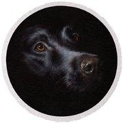 Black Labrador Painting Round Beach Towel