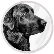 Black Labrador Retriever Dog Monochrome Round Beach Towel
