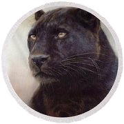 Black Leopard Painting Round Beach Towel by Rachel Stribbling