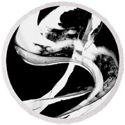 Round Beach Towel featuring the painting Black Magic 307 Inverted by Sharon Cummings