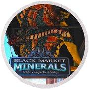 Black Market Minerals Round Beach Towel