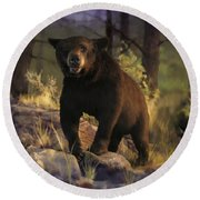 Round Beach Towel featuring the painting Black Max by Rob Corsetti