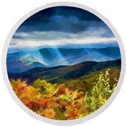 Black Mountains Overlook On The Blue Ridge Parkway Round Beach Towel