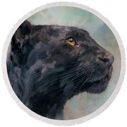 Black Panther Round Beach Towel by David Stribbling