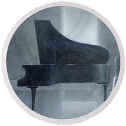 Black Piano 2004 Round Beach Towel