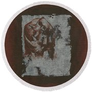Black Rhino Round Beach Towel