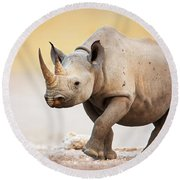 Black Rhinoceros Round Beach Towel