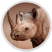Black Rhinoceros Portrait Round Beach Towel