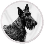 Black Scottie Scottish Terrier Dog Round Beach Towel