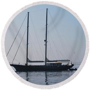 Black Ship 1 Round Beach Towel by George Katechis