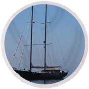 Black Ship Round Beach Towel by George Katechis