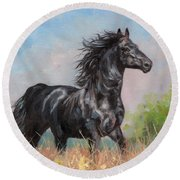 Black Stallion Round Beach Towel by David Stribbling