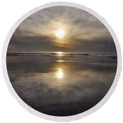 Black Sunset Round Beach Towel