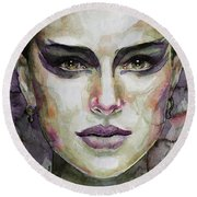 Round Beach Towel featuring the painting Black Swan by Laur Iduc