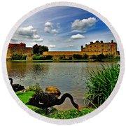 Black Swans At Leeds Castle II Round Beach Towel
