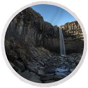 Black Waterfall Round Beach Towel