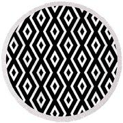 Black And White Pattern Round Beach Towel