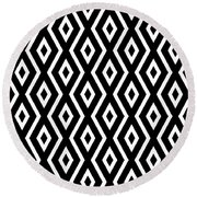 Black And White Pattern Round Beach Towel by Christina Rollo