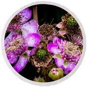 Blackberry Flower Round Beach Towel by Edgar Laureano