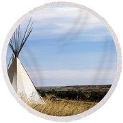 Round Beach Towel featuring the photograph Blackfoot Teepee by Alyce Taylor