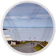 Blackrock Lighthouse, Off Rosses Point Round Beach Towel