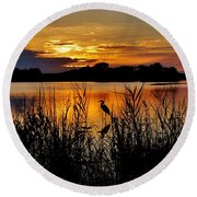 Blackwater Morning Round Beach Towel by Robert Geary