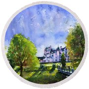 Blair Castle Bridge Scotland Round Beach Towel