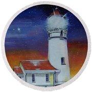 Blanco Lighthouse Round Beach Towel by Thomas J Herring