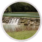 Blanco River Weir Round Beach Towel