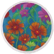 Blanket Flowers And Cosmos Round Beach Towel