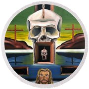 Round Beach Towel featuring the painting Blasphemixition by Ryan Demaree