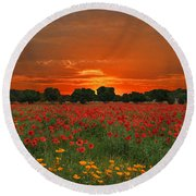 Blaze Of Glory Round Beach Towel by Lynn Bauer