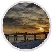 Blazing Sky Round Beach Towel by Anne Rodkin