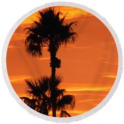 Round Beach Towel featuring the photograph Blazing Sunset by Deb Halloran