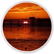 Round Beach Towel featuring the photograph Blazing Sunset by Vicki Spindler