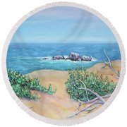 Bleached Cedar And Ocean Rocks Round Beach Towel by Asha Carolyn Young