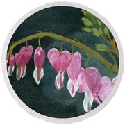 Round Beach Towel featuring the painting Bleeding Heart by Lynne Reichhart