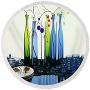 Blenko Glass Bottles Round Beach Towel