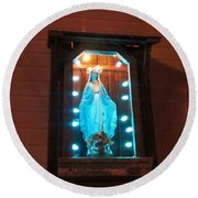 Blessed Mary - New Orleans La - Www.rocknbowl.com Round Beach Towel by Deborah Lacoste
