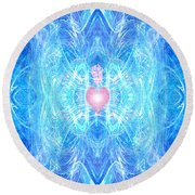 Blessed Mother Mary Round Beach Towel by Diana Haronis